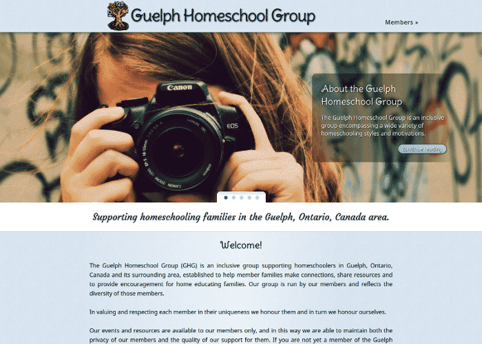 Guelph Homeschool Group front page