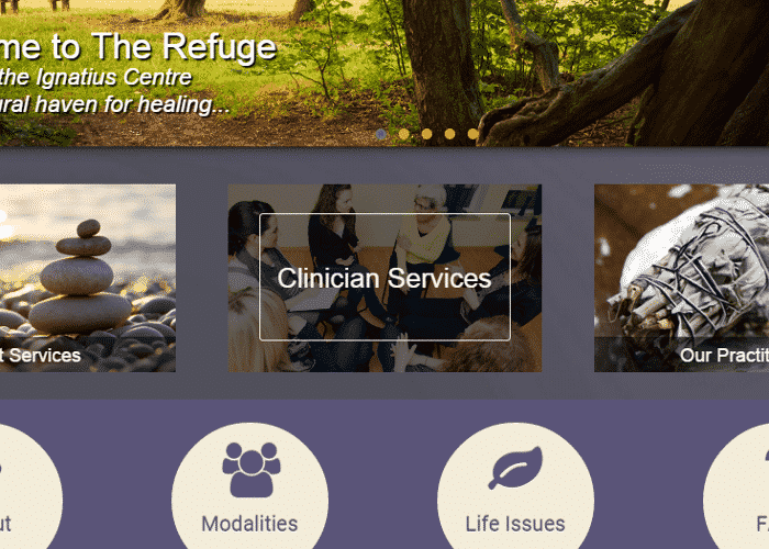 The Refuge front page hover effect
