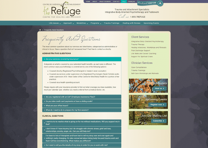 The Refuge internal page faq