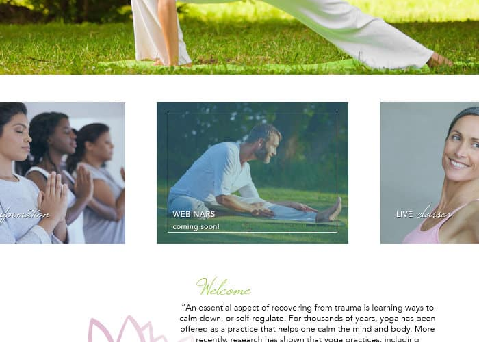 Trauma-Informed Yoga Training front page hover effect