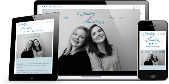 Mock-up of the Maddy & Natasha front page on various devices