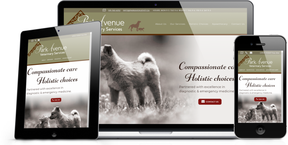 Mock-up of the Park Avenue Vet front page on various devices