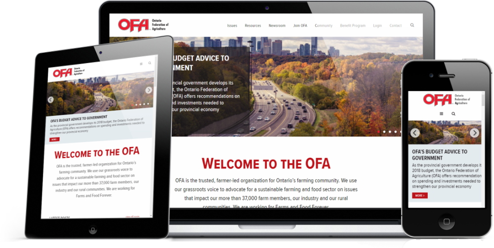 Mock-up of the OFA front page on various devices